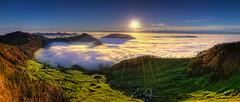 Splendit (swPicture) Tags: morning autumn mist mountain mountains fall colors fog sunrise landscape dawn switzerland colorful hiking clarity bluesky drop hike adventure d800 passwang vogelberg