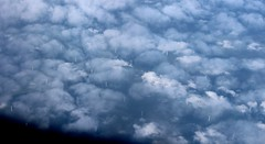 Amsterdam (Bezann) Tags: trees sea sky cloud snow amsterdam skyline clouds canon flying europe view wind fluffy birdseye turbines 600d