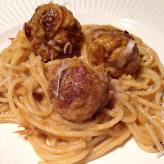 "These homemade smoked mozzarella stuffed meatballs with heirloom tomato sauce were just the kind of comfort food we needed at our family table this evening. On another long snowy day, tomato sauce made with last year's heirloom tomato harvest was a powerf • <a style=""font-size:0.8em;"" href=""https://www.flickr.com/photos/54958436@N05/16451988566/"" target=""_blank"">View on Flickr</a>"