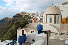 Fira (quiggyt4) Tags: ocean city blue sea white streets beach church architecture stairs island greek volcano islands design alley stair paint mediterranean arch view bell cloudy aegean eu constantine santorini greece architect caldera crete dome beaches walls geology greekislands orthodox corfu rhodes streetscape troika oia byzantine mykonos thira fira bluedome delos constantinople thera eurogroup ronpaul akrotiri ows pyrgos bailout jtr occupy eurozone bluedomes syriza tsipras occupywallstreet grexit