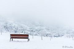 bench and snowy winter landscape (Mimadeo) Tags: park xmas houses winter white snow cold beautiful fog bench season landscape frozen frost village snowy seasonal frosty copyspace trapaga laarboleda zugaztieta trapagaran