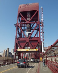 Roosevelt Island Bridge over the East Channel of the East River, Manhattan-Queens, New York City (jag9889) Tags: city nyc newyorkcity bridge red usa plant ny newyork river puente island flickr crossing lift unitedstates manhattan unitedstatesofamerica bridges dot bin ponte east queens transportation eastriver infrastructure pont brcke rooseveltisland channel longislandcity waterway welfare movable departmentoftransportation eastchannel 2013 nycdot rooseveltislandbridge k174 bridgeidentificationnumber jag9889 2240640 y2013