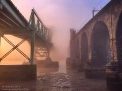 Bridges in the mist (Grains of Rice) Tags: bridge mist fog sunrise silver river cheshire jubilee hdr mersey iphone runcorn widnes halton runcornbridge pseudohdr iphonography snapseed