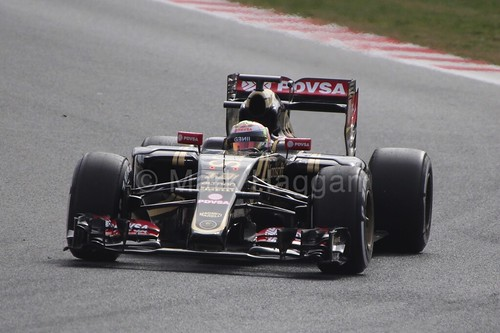 Pastor Maldonado in his Lotus in Formula One Winter Testing 2015