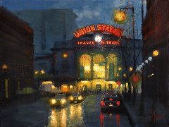 Union-Station-at-Dawn--Denver,-Colorado (ChristopherClarkArt) Tags: street city original urban art station night train painting colorado paint artist cityscape union fine christopher trains scene denver clark oil impressionism impressionist