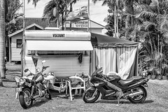 Caravan Camping BIkers Fly the Flag.jpg (Pauls-Pictures) Tags: park street camera city camping houses urban blackandwhite monochrome lens photography fuji flag australian streetphotography bikes australia pride fujifilm motor caravan standard motorbikes bikers nationalism photograhy streetphotos xenophobia austalia theentrance streetpics streetphotograhy bluebay bikies xenophobic xt1 streetpictures 35nmf14lens nationist