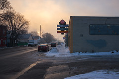Dufferin Fog (bryanscott) Tags: winter snow canada building fog architecture winnipeg manitoba signage arlingtonbridge