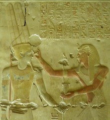 Abydos, Seti I Temple, Amun-Re chapel, detail of north wall scene (dr.heatherleemccarthy) Tags: sculpture monument stone writing temple ancient stonework text egypt chapel relief seti hieroglyphs abydos amunre