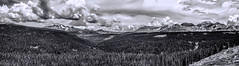 Bolam Pass (Scosanf) Tags: trees sky blackandwhite bw panorama mountains nature monochrome clouds canon landscape eos rebel colorado dramatic t3i topazlabs coloradotrails topazbweffects