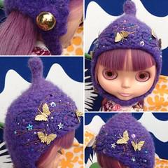 The Folklore Tonttu Helmet:Golden Dawn (Euro_Trash) Tags: felted stars gold purple helmet knit galaxy website com embroidered embellished eurotrash tonttu handmadeforblythe