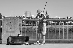 Fiddling With Black & White (Ian Sane) Tags: park street camera two musician white man tom oregon canon river portland lens ian photography eos is downtown waterfront market mark candid saturday images player governor ii violin 5d fiddle usm performer busking willamette fiddler busk sane mccall ef70200mm f28l fiddlingwithblackwhite