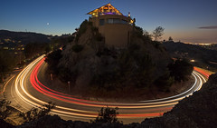 the house on the hill (lucmena) Tags: california ca longexposure nightphotography usa moon house night losangeles outdoor dusk lighttrails mulhoolanddrive