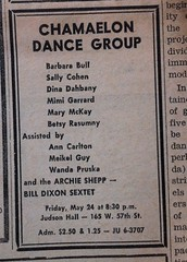 Chamaelon Dance Group ad, Village Voice May 23, 1963 (bunky's pickle) Tags: music newyork dance newspapers jazz advertisements periodicals 1963 villagevoice