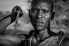 Maasai warrior (PhotoA.nl) Tags: africa portrait blackwhite power kenya tribal warrior strength tribe maasai spear