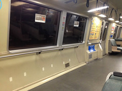 test layout on BART (citymaus) Tags: sf sanfrancisco test public standing layout oakland berkeley room transport bart remove transportation transit bayarea railing seating removal pilot removed
