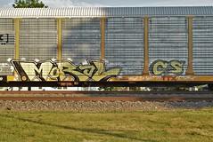 MORAL CS (TheGraffitiHunters) Tags: street white black art car yellow train graffiti colorful paint tracks spray cs graff carrier freight moral autorack benched benching
