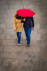 Damp day out (Steve J Cottis) Tags: red people london umbrella raining embankment nikond810 tamron2470mm