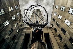 Atlas ( Esther ) Tags: street new york city travel light sky urban ny building statue skyline architecture clouds buildings photography cityscape manhattan