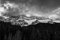 Rockies (Saptashaw Chakraborty) Tags: canada alberta banff canadianrockies lakeminnewanka winter landscape blackandwhite bw monochrome mountain