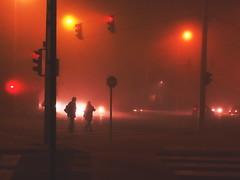 (Botond Pataki) Tags: street people orange mist black silhouette fog night walking lights crossing pedestrian human zebra handheld lamps element