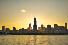 Sears Tower Sunset (alexgeorgeny) Tags: ocean sunset summer sun lake chicago green tower water grass fog skyline skyscraper spring nikon sears chase lightpole d3200 d5100