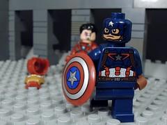 My Father Made that Shield (MrKjito) Tags: man america war iron lego howard father battle tony civil final captain end shield fin marvel stark universe cinematic avengers vibranium