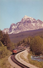 Yellowhead Pass, Mt Fitzwilliam, 1960s (bbradleyaway) Tags: cn bc britishcolumbia lucerne fraserriver cnr canadiannational yellowhead yellowheadpass yellowheadlake mtfitzwilliam mountfitzwilliam