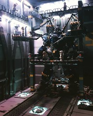 A close up of my diorama maintenance view with AMS FS88 Fhrungsmaschine Balrog in the dock. A open walkway has been open to expose the mecha torso area.  For picture of my Balrog please click the link below: https://www.flickr.com/photos/benjamin_cheh_ (Benjamin Cheh) Tags: square squareformat perpetua iphoneography instagramapp uploaded:by=instagram