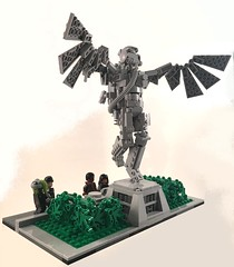 Floating in the Most Peculiar Way (goatman461) Tags: park statue lego