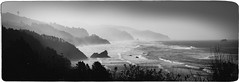 Oregon Coastal Haze-Pano (Firery Broome) Tags: ocean travel autumn trees blackandwhite bw panorama usa mountains nature monochrome fog oregon photoshop landscape coast blackwhite washington rocks waves glare olympus pacificocean coastline 365 westcoast apps worldtravel naturelovers alienskin blackandwhitelandscape blackandwhitenature viveza olympus570 exposurex sliderssunday