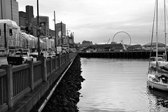 Seattle Waterfront! (Reed 1949) Tags: seattle washington giantwheel boats piers buildinngs skyscrapers construction architecture water pugetsound eliotbay nikon nikond5200 tamron18270