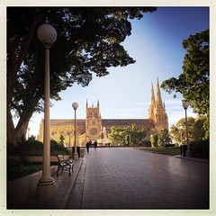 Winter morning light on St Mary's Cathedral (NinianLif) Tags: winter morninglight sydney hydepark stmaryscathedral