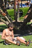 2013 May 06 10 (Omunene) Tags: shirtless pecs neworleans frenchquarter jacksonsquare tanlines sunbathing commando farmertan hairychest vieuxcarré upshorts