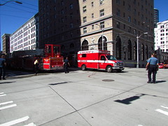 2013-05-06 2nd/Stewart Fire (zargoman) Tags: seattle water truck fire smoke police hose burning emergency firefighter department firefighters response dispatch
