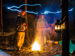 Psy camp (5_v) Tags: light camp tree lamp night fire bonfire psychedelic freezelight