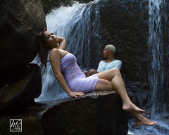 Waterfalls Duet (hfcnathan) Tags: girls sexy rock female waterfall models rocher femmes chutedeau frenchguiana roura guyanefranaise modles fourgassi