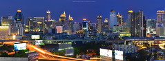 Bangkok Night Panorama (noomplayboy) Tags: city building night thailand twilight banner expressway hotelbangkok airportlink thetallestbuilding airportraillink noomplayboy