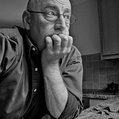 Pensive? No just acting. (Graham Barnes [Cuileag]) Tags: portrait selfportrait man male kitchen pose pensive selfie
