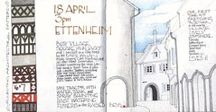 Drawing in the village square (skyeshell) Tags: buildings germany village drawing sketchbook calligraphy archways ettenheim theblackforest architecturalpatterns urbansketches drawingoutside sketchbookjournal drawingfromobservation urbansketchers