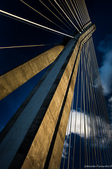 Electric boogie (funkypiks) Tags: voyage trip bridge sky architecture clouds poland polska ciel pont warsaw ropes nuages warszawa cordes varsovie pologne 2013