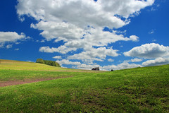 House on the Hill (Nicholas_T) Tags: sky house field grass clouds rural landscape spring pennsylvania hills cumulus creativecommons columbiacounty crawfordroad mountpleasanttownship
