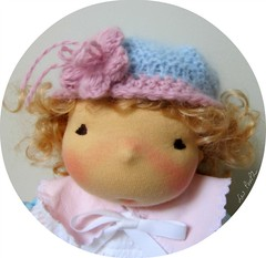 Abby's Flower Bonnet (Les PouPZ) Tags: vintage toy waldorf collection artdoll decor doudou ragdoll dukker shabby clothdoll poupeedechiffon cuddledoll lespoupz stoffepuppen