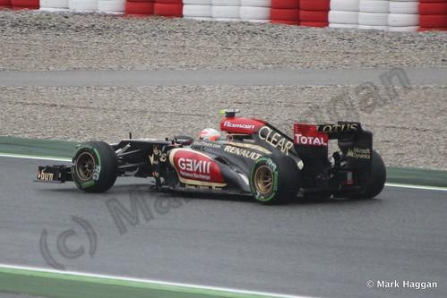 Romain Grosjean in his Lotus in Free Practice 1 at the 2013 Spanish Grand Prix