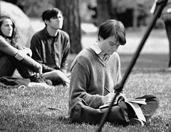 Music and Sketching (MTSOfan) Tags: boy student artist tripod sketching lawn pad youngman