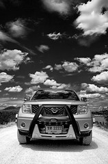 Nissan (paza140) Tags: travel sky bw nature monochrome car clouds thailand nissan pickup manipulation national photograph transportation geographic edit navara paza140