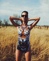 RAWR (crystalllrose) Tags: field fashion pose model fierce tiger rawr blackmilk tigerswim