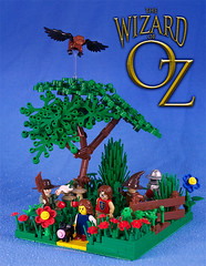 On the Yellow Brick Road (captainsmog) Tags: flowers tree dorothy mushrooms monkey countryside flying lego scarecrow lion munchkin minifigs custom vignette toto diorama tinman moc