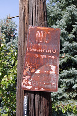 (Shane Henderson) Tags: wood old trees red green leaves sign 1 pittsburgh rusty s l telephonepole crusty corroded ruined 100fine nodumping departmentofpublicworks southsideslopes pghdpw