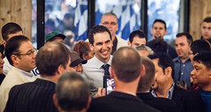 A grinning Mayor-Elect Steve Fulop surrounded by supporters (jbm0) Tags: new city usa newjersey jerseycity 14 steve may nj jersey steven may14 stevefulop fulop mayorelect 2013 stevenfulop may142013 14may2013 postelectionpartyjerseycitymay142013 postelectionparty postelectionpartyjerseycity14may2013
