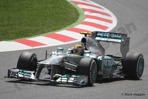 Lewis Hamilton qualifying for the 2013 Spanish Grand Prix